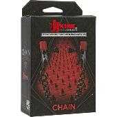 Kink - Chain - Nipple Clips with Heavy Chain and Silicone Tips Black