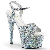 7 inches Heel, 2 3/4 inches PF Glitter Ankle Strap Sandal