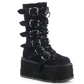3 1/2 inches PF Mid-Calf Boot w/ 6 Buckle Straps, Metal Side Zip