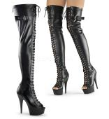 6 inches Heel, 1 3/4 inches PF Peep Toe Lace-up Thigh Boot, Back Zip SIZE 7 (FINAL SALE)