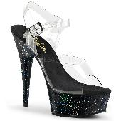 6 inches Heel, 1 3/4 inches PF Ankle Strap Sandal W/Glitters