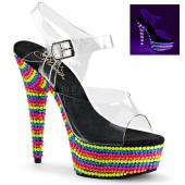 6 inchesHeel, 1 3/4 inches PF Ankle Strap Sandal, Neon UV Reactive
