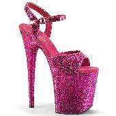 8 inches Heel, 4 inches PF Glitter Ankle Strap Sandal