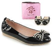 Pointed Toe Foldable Flats W/ Pearl Embellished Bow