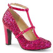 4 inches Heel, 1 1/2 inches PF Round Toe Pump W/ Glitters