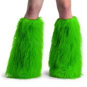 Neon Green Faux Fur Boot Sleeve, Leg Warmer