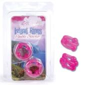 Silicone Island Ring Double Stacker Pink