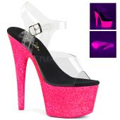 7 inches Heel, 2 3/4 inches PF Ankle Strap Sandal w/ UV Effect