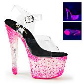 7 inches Heel, 2 3/4 inches PF Ankle Strap Sandal, Neon UV Reactive