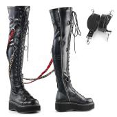 2 inches PF STR Over-the-Knee Lace-Up Boots, Side Zip