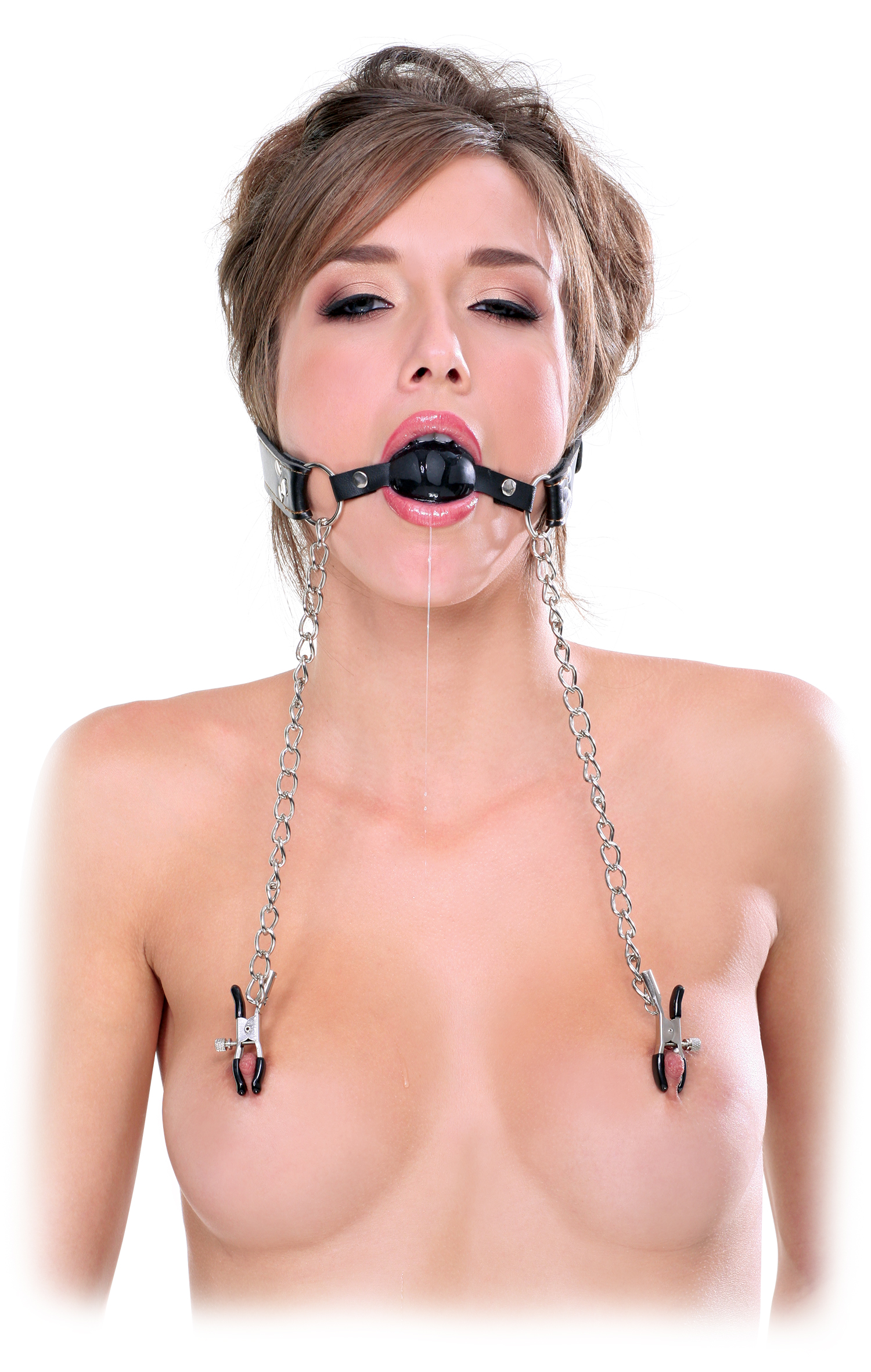 Ff Extreme - Deluxe Ball Gag  Nipple Clamps-4027