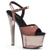 7 inches Heel, 2 3/4 inches Tinted Platform Ankle Strap Sandal