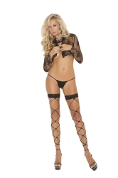 Footless Net Thigh Hi With Lace