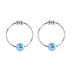 Silver with Blue Crystal Bead Nipple Rings